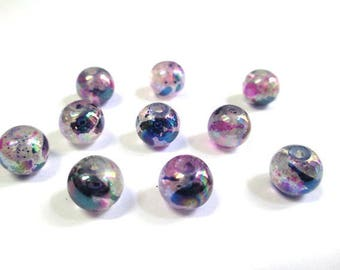 shiny 10 speckled beads dark blue and pink Glass 8mm (34 C)