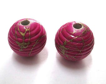 2 Gold, pink acrylic beads 19mm