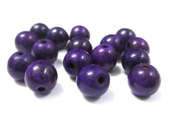 10 purple 8mm synthetic turquoise beads