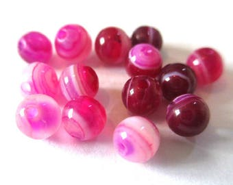 10 striped agate beads shades of pink 4mm