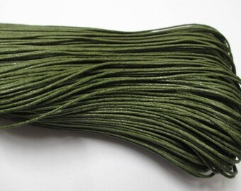 10 meters cotton khaki green waxed thread 1 mm