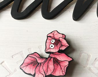 "Wooden brooch ""Bougainvillea"""