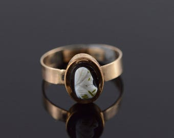 10k Carved Cameo Vintage Ring Gold