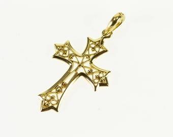 14k Cross Religious Symbol Scroll Milgrain Filigree Charm/Pendant Gold