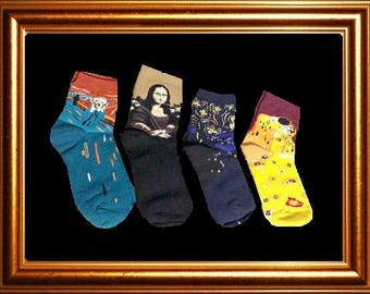 Art Socks, Women, Starry Night, Mona Lisa, The Kiss, The Scream, Set of 4, Gift for Women, Crew Socks, Fun, Artsy Gift,Art Teachers, Artists