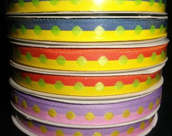 2 Color Stripe Polka Dot Ribbon