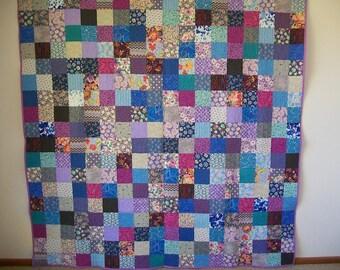 Scrap Patchwork Quilt - Queen Size - Blue & Purple Cotton Fabrics