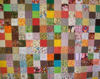 Scrap Patchwork Quilt - Queen Size - Warm Autumn Tones Cotton Quilting Fabrics