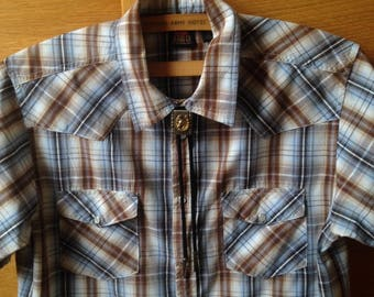 Men's Wrangler Western Shirt in Blue and Brown Plaid.  Short Sleeve Western Shirt.