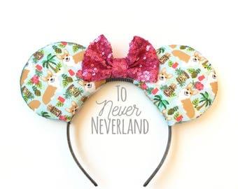Corgi Mickey Ears, Tiki Corgi Mickey Ears, Disney Inspired Corgi Minnie Ears, Corgi Mickey Mouse Ears, Corgi Tiki Dog Mickey Ears Headband