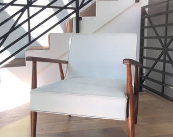 Mid-Century Leather and Wood Arm Chair