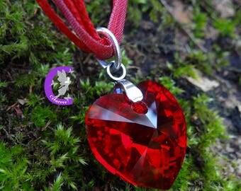 Siam AB color swarovski crystal heart pendant