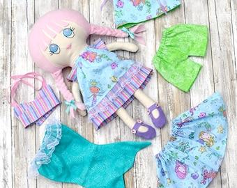 Rag Doll - Cloth Doll - Fabric Doll - Heirloom Doll - Handmade - Mermaid - Dress up Doll
