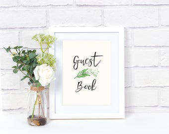 Printable Greenery Guest Book Poster (2 versions)