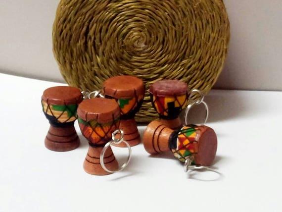 African Handmade Kente Drum Keychains And Keyrings