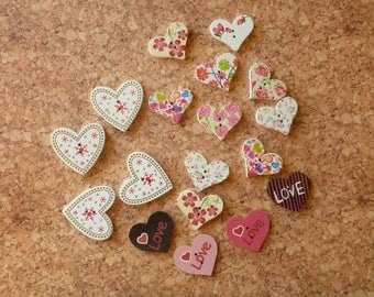 Wooden Heart Button Assortment