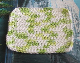 Hand crochet cotton dish cloth 6.5 by 6.5 cdc 114
