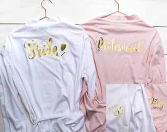 Personalised Bridal Robes - Wedding Dressing Gowns - Hen Party Bachelorette Bridal Party Present - Kimono - Bride and Bridesmaid Robes
