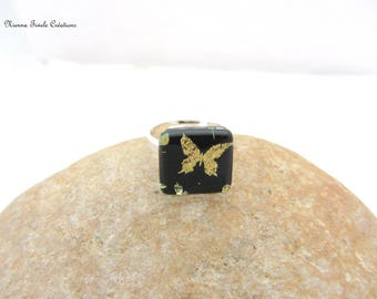 Dichroic glass jewelry, adjustable ring,french hand made,dichroic ring, square ring,unique ring,butterfly ring,butterfly jewelry