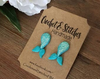 Mermaid Tail Earrings ~ Polymerclay Earrings ~ Studs