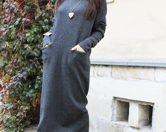 Maxi dress/long sleeve dress/long dresses/loose dress/casual dress/womens dresses/caftan dress/designer dress/maxi dress for women/R00045