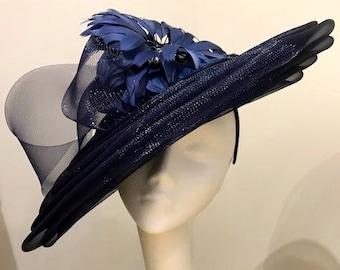 OOAK Navy Crinoline Couture Saucer. Races, Royal Ascot, Kentucky Derby. Ascot hat.