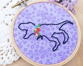 T-Rex Embroidery Hoop Art, Embroidered Dinosaur Art, Dinosaur With Flowers, Floral Collar, Tyrannosaurus Rex Embroidery, Funny Embroidery