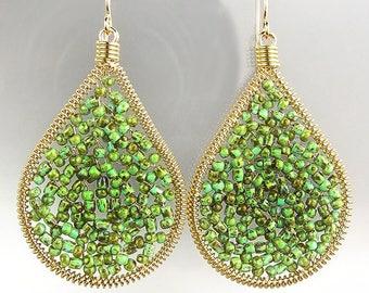 GORGEOUS Green Turquoise Beads Chandelier Dangle Earrings, Bohemian Earrings, Cascading Dangle Earrings, FREE SHIPPING!