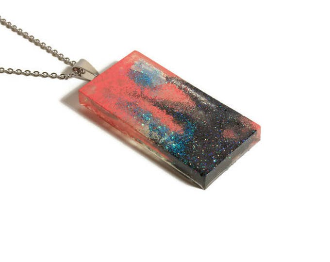Peach sky resin pendant Necklace