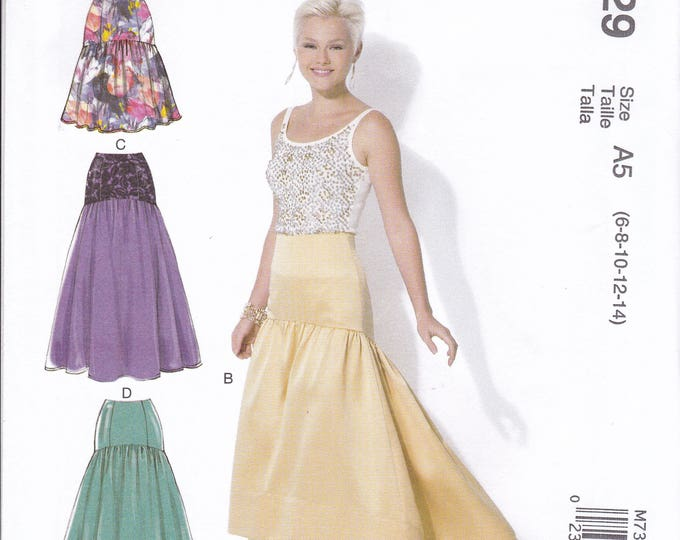 FREE US SHIP McCall's 7329 Sewing Pattern Drop Waist  Evening Length Skirt Size 6/14 14/22 Bust 30 31 32 34 36 38 40 42 44 plus size  New
