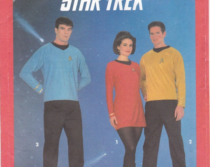 FREE US SHIP Simplicity 8028 Sewing Pattern Rare Vintage Adult Star Trek Costume Men Miss xxs-lg Decal Insignia Comicon Cosplay New Uncut