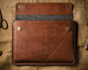 Macbook Air 11 inch case leather, Macbook Air inch Sleeve, Crazy Horse leather brown, 100% wool felt, distressed leather Macbook air 13 case