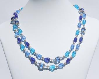 Blue and aqua glass long necklace