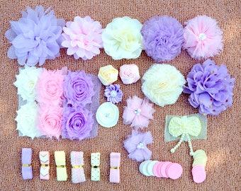 DIY Baby Shower Headband Kit, DIY Headbands, Headband Making Kit, Girls Headbands, Lavender, Ivory , Pink Headbands