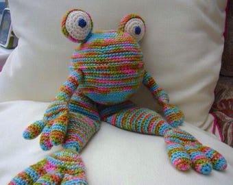 Jill the crocheted rainbow frog. Handmade crocheted toy.