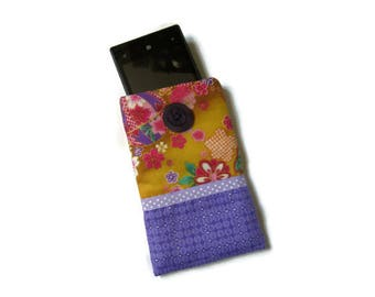 case/cover for mobile phone or multicolored, purple and yellow Japanese fabric glasses Pocket