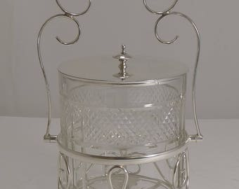 Antique English Cut Crystal and Silver Plate Biscuit Box c.1900