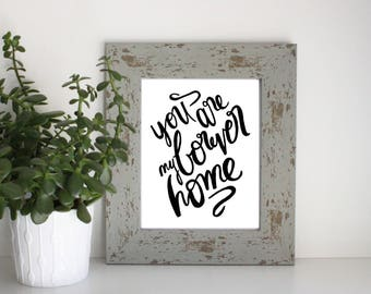 Black and White Hand-Lettered Forever Home Print 8x10