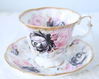 Beautiful Vintage Royal Albert Gainsborough Cup and Saucer, Summer Bountry Series 'Tourmaline', England