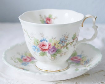Hard to Find Vintage Royal Albert Bone China 'Colleen' Gentleman Size Cup and Saucer, Flower Decor, England