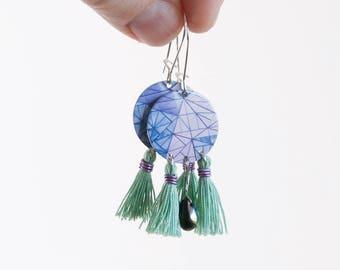 Purple Tassel Earrings - green tassel - Iconic Melbourne earrings - Australiana