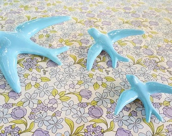 Ceramic Swallows Turquoise blue/turquoise Porcelain Swallows