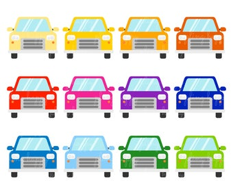 70% OFF Colorful Car Front View Cliparts, Colorful Car Front View Clipart Graphics, Personal & Small Commercial Use, Instant Download