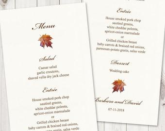 "Watercolor Wedding Menu Template ""Fall in Love"", Brown. DIY Printable Menu Cards, Tea Length. Edtable Text, MS Word. Instant Download."