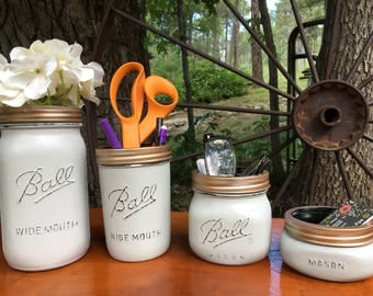 Mason Jar Desk Set-Desk Set-Mason Jar Office-Desk Organizer-Desk Set-Mason Jar Office Set-Office Set-Dorm Set- Desk Set