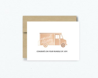 """Rose Gold Foil Special Delivery """"Congrats On Your Bundle Of Joy"""" Baby Greeting Card"""