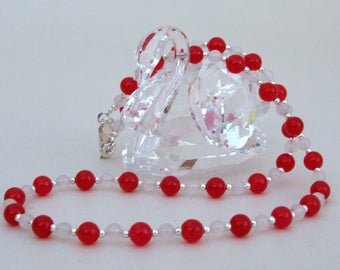 Red Jade and White Jade Necklace