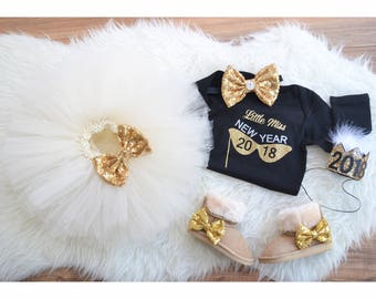 Happy New Year outfit for Infant, New years eve dress for babies, Sparkle outfit , New years eve 2018 outfit , Ivory tutu + Black top +...