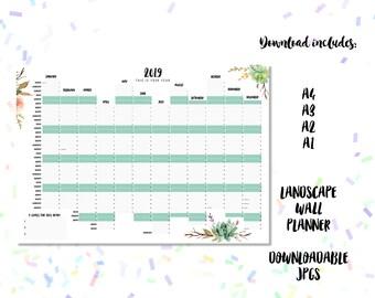 2019 Downloadable Landscape Wall Planner Desert Blooms Design - A1, A2, A3 + A4