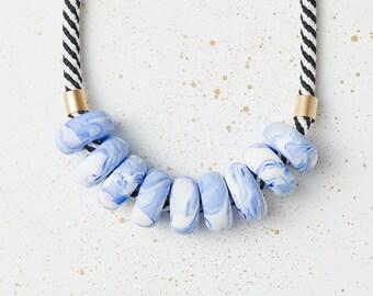 Chunky necklace, Pastel Statement necklace, Geometric jewelry, Blue Beaded necklace, Geometric gift, Clay necklace, Modern jewelry, Blue